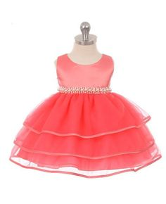 Dresses 163351: New Baby Girls Coral Satin Organza Dress Pageant Party Birthday Formal Infant -> BUY IT NOW ONLY: $32.99 on eBay!