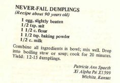 A good dumpling recipe Healthy recipes - Food Recipe Best Dumplings, Stew And Dumplings, Dumpling Recipe, Chicken And Dumplings, Homemade Dumplings, Drop Dumplings, Chinese Dumplings, Retro Recipes, Old Recipes