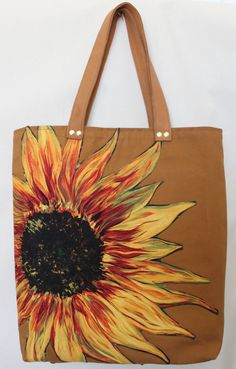 Sunflower bronze canvas tote with leather by ShellyJackShop, $130.00