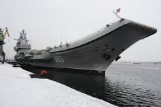 Aircraft carrier Admiral Kuznetsov, seen here in February 2016, undergoing comprehensive repair and refit at the Sevmash shipyard at Severodvinsk, northern Russia.