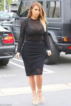 Kim Kardashian wearing Tom Ford Triple-Buckle Sandal in Nude Alexander Wang Fitted Crochet Knit Pencil Skirt in Liquorice Alexander Wang Fitted Crochet Knit Pullover in Liquorice