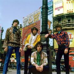 The Pink Floyd at Piccadilly Circus wearing clothes from 'Granny Takes a Trip' boutique in the Kings Road 1967