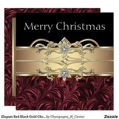 Elegant Red Black Gold Christmas Party Card