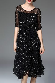 Sheer Spliced Midi Dot Dress