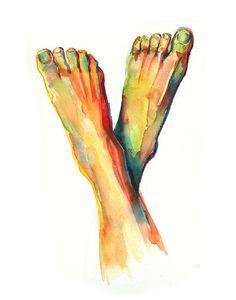 Lámina acuarela pies podología pie anatomía arte por LyonRoad