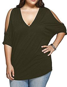 e7a6aaeb940a9 Women s Plus Size T-Shirt Deep V Neck Cold Shoulder Casual Tee Tops