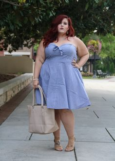 Hi Loves!! Summer is so close to being over but it is still crazy hot in Alabama so I am not packing away my cool clothes just yet. Today I am bringing you a really cute, cool and chic Plus Size Hamptons Vibes look. The color, the stripes, the back and the bow all make this look scream for weekend i