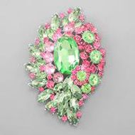 Beautiful Crystal Pink and Green Pin. This would make a lovely accent to a frame or lampshade or something, even use it as a ceiling fan pull. ~AF.