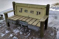 Hand made patio bench featuring a real 1970s vintage Jeep pickup tailgate and a…