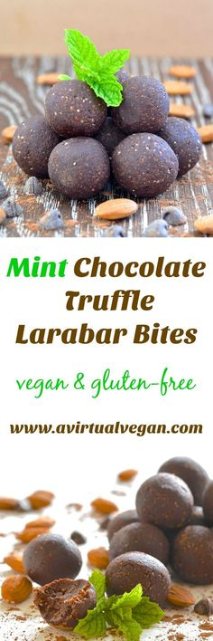Copycat Mint Chocolate Truffle Larabar Bites can be made in minutes and are full of wholesome plant-based ingredients. They taste like chewy mint chocolate brownies & are perfect for satisfying your sweet cravings! via (chocolate bars energy bites) Best Vegan Recipes, Vegan Dessert Recipes, Healthy Desserts, Easy Desserts, Whole Food Recipes, Snack Recipes, Candy Recipes, Delicious Recipes, Diet Recipes