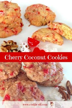 Cherry Coconut Cookies: colorful and easy drop cookie recipe with maraschino cherries, coconut, and pecans with The Cookie Elf. Cherry Cookies, Pecan Cookies, Coconut Cookies, Drop Cookies, Cake Mix Cookies, Sugar Cookies, Kiss Cookies, Baby Cookies, Drop Cookie Recipes