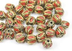 10 BEADS Tibetan Beads with Brass, Coral Inlays - TibetanBeadStore - Handmade Brass Inlay Beads - Tibetan Beads Jewelry Supply - B2749-10