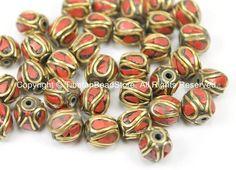 10 BEADS Tibetan Beads with Brass, Coral Inlays - TibetanBeadStore - Handmade Brass Inlay Beads - Tibetan Beads Jewelry Supply - B2749-10
