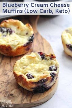 keto desserts A low carb blueberry cheese muffin recipe that's more like mini cheesecakes. These gluten free desserts can be eaten plain or with fruit and nuts on top. Keto Desserts, Gluten Free Desserts, Keto Snacks, Dessert Recipes, Breakfast Recipes, Blueberry Desserts, Breakfast Casserole, Muffin Recipes, Breakfast Ideas