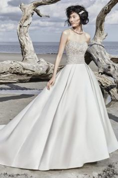 Maxwell by Sottero & Midgley Wedding Dresses. Beautiful strapless beaded bodice bridal gown with full satin skirt. Collection starts at $1,200 & up. Make an appointment at Precious Memories in Boston, Ma. 781-397-1336. How To Dress For A Wedding, Pretty Wedding Dresses, Wedding Dresses Photos, Princess Wedding Dresses, Elegant Wedding Dress, Designer Wedding Dresses, Bridal Dresses, Wedding Gowns, Trendy Wedding