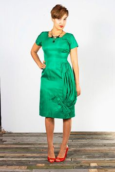 1950s Emerald Green Cocktail Party Dress sz M/L by UrbanXchange, $64.00