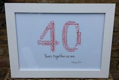 Personalised 40th Ruby Wedding Anniversary Word Art 'White'Frame '40 years To...