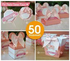 kit festa 50 produtos minnie rosa lembrancinha personalizada