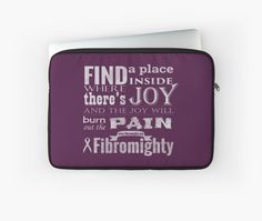 """""""Fibromighty Joy Will Burn Out The Pain"""" Laptop Sleeves by prandski 