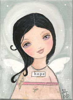 Angel of Hope original Mixed Media painting by bb