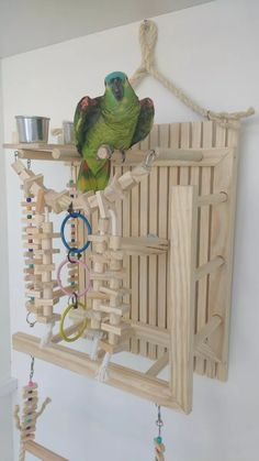 playground wall for parrot bird charm toys - Garden Ideas Diy Parrot Toys, Diy Bird Toys, Parrot Perch Diy, Homemade Bird Toys, Bird Aviary, Bird Perch, Parrot Play Stand, Diy Bird Cage, Amazon Parrot