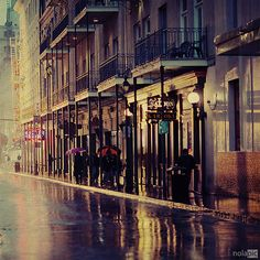 in the New Orleans French Quarter on a rainy day