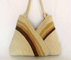 Crochet hand bag Shoulder bag autumn fashion Ecru by RUMENA