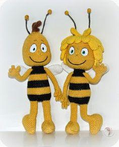 2000 Darmowe Wzory: amigurumi Maya Pszczoła i przyjaciel het Willy - amigurumi szydełku wzór