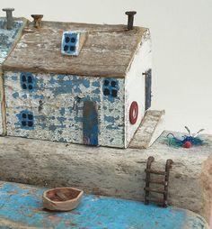 Whitewashed cottage.