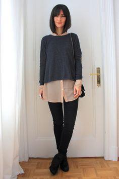 Golestaneh - Street Style: street style 0245: oversize chiffon bluse, knit sweater & sheepskin leather jacket