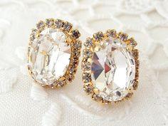 Clear white rhinestones Swarovski Crystal oval by EldorTinaJewelry, $44.00