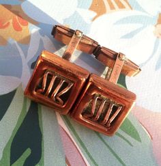 Vintage c.1950 signed Renoir copper cuff links by TheElegantCollector on Etsy