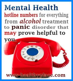 Mental health hotline numbers for everything from alcohol treatment to