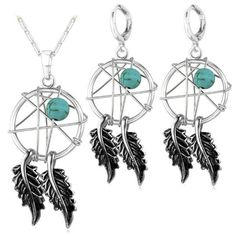Check out our Dream Catcher Necklace And Earrings Set Silver Plated Pendant