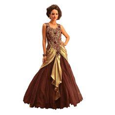 Ishi Maya Brown and Beige Designer Gown Suit