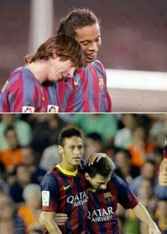 Ronaldinho and messi..  Neymar and messi