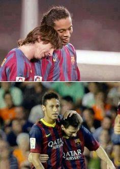 Ronaldinho and messi..  Neymar and messi