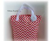 Coral tote bag - perfect beach bag, market bag or bridesmaids gift