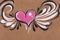 Cross Paintings On Canvas | winged heart by contact@sarasparlour.co.uk, via Flickr
