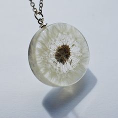 One True Dandelion Necklace 07 Resin Jewelry Make A Wish Real Complete Dandelion Pendant Statement. $48.00, via Etsy.