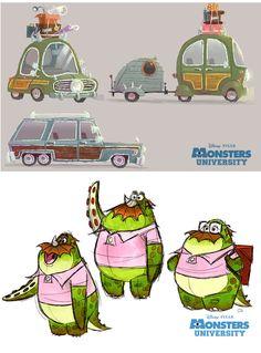 Personagens de Monsters University, por Chris Sasaki   THECAB - The Concept Art Blog