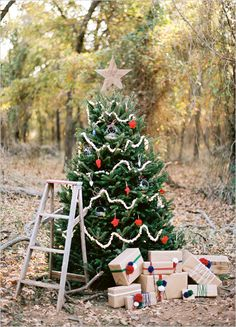 Outdoor decorated Christmas tree