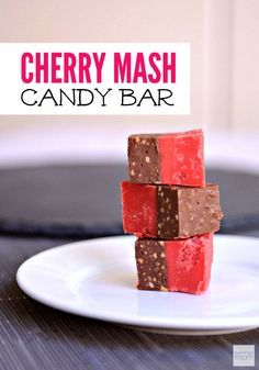 This Cherry Mash Candy Bar Recipe is a copycat of the beloved candy bar - a cherry, marshmallow base topped with chocolate, salted peanuts & peanut butter.