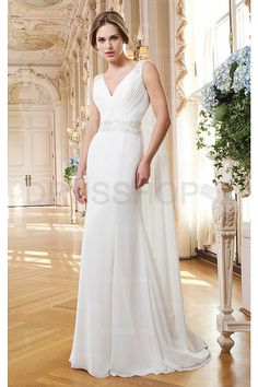 Stylish Church Natural V-neck Chiffon Wedding Dresses