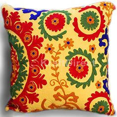 If bohemian interiors are what you like, our vintage throw pillow cases are sure to attract you. The cotton pillowcase has a bright yellow background that features handmade suzani embroidery in colors