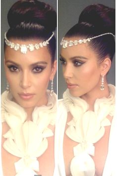 Wedding jeweled headpiece and earrings Wedding ceremony hair