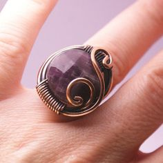 copper wire with amethyst stone ring wire wrapped jewelry handmade copper wire jewelry by BeyhanAkman on Etsy https://www.etsy.com/listing/229352441/copper-wire-with-amethyst-stone-ring