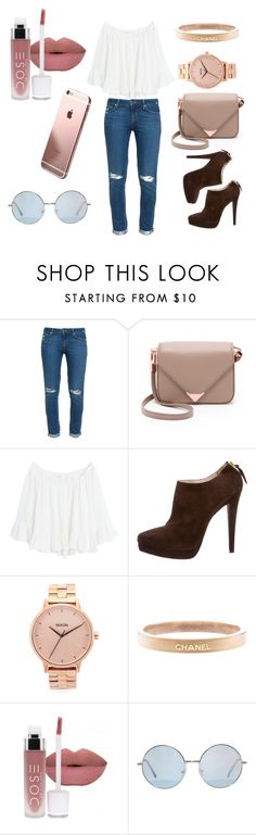 """""""Rose Gold Boho Outfit"""" by laneylilac ❤ liked on Polyvore featuring Paige Denim, Alexander Wang, MANGO, Miu Miu, Nixon and Chanel"""