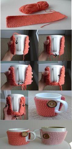 cup cosy tutorial.                                                                                                                                                                                 More