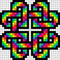 Rainbow hearts perler bead pattern